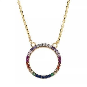 Multi Color Gemstone Open Circle Pendant Necklace